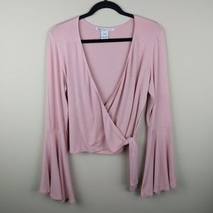 American Rag dusty pink wrap around blouse bell L